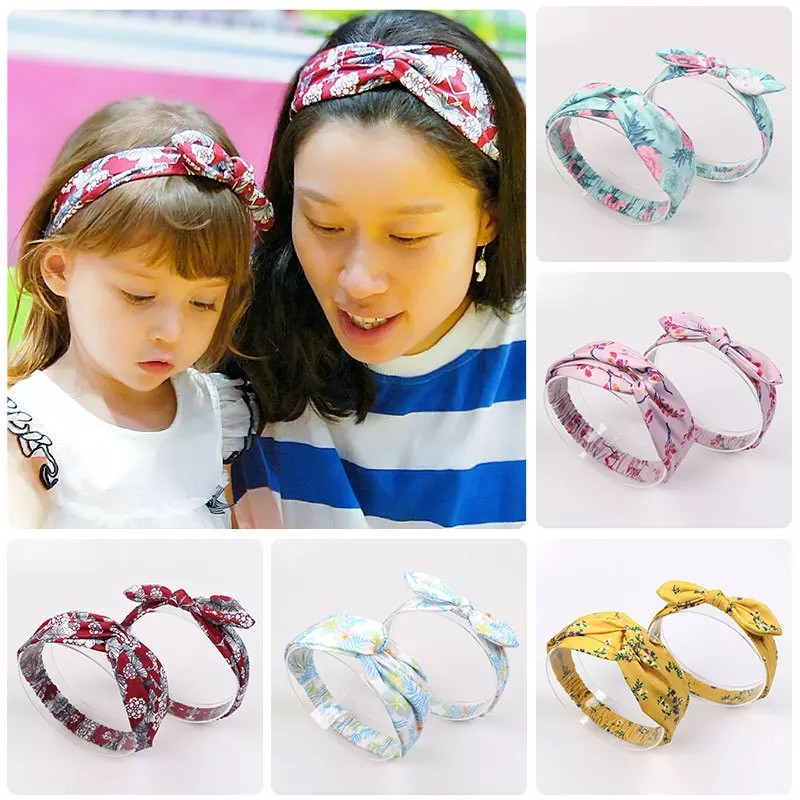 MIXIU 2pcs Mom And Baby Headbands Rabbit Ears Elastic Hair Bands Bow Print Hairbands Parent-child Hair Accessories Kids Gifts