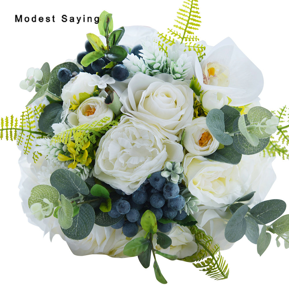 Natural forest style artificial rosette flowers wedding bouquets natural forest style artificial rosette flowers wedding bouquets 2017 bridal bridesmaid flowers bouquet wedding accessories in wedding bouquets from izmirmasajfo