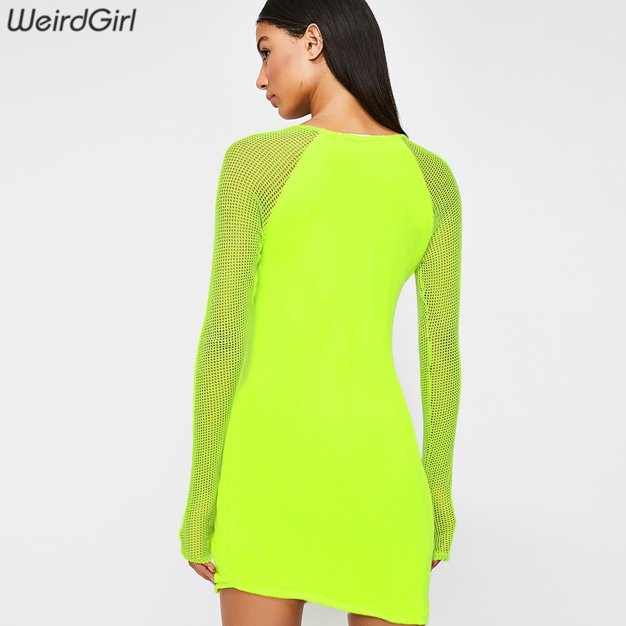 Weirdgirl women dresses sexy and club new fashion v-neck long sleeve above knee mini dresses for lady empire mesh patchwork