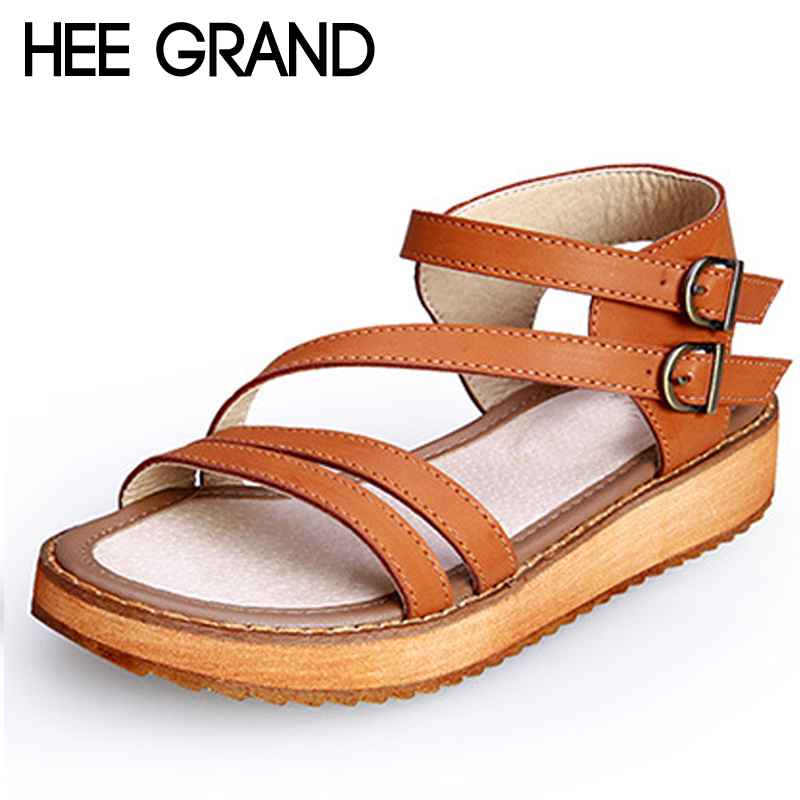 HEE GRAND Buckle Strap Gladiator Sandals Summer Platform Flats Slip On Creepers Vintage Shoes Woman Plus Size 35-43 XWZ4670 hee grand 2017 creepers summer platform gladiator sandals casual shoes woman slip on flats fashion silver women shoes xwz4074