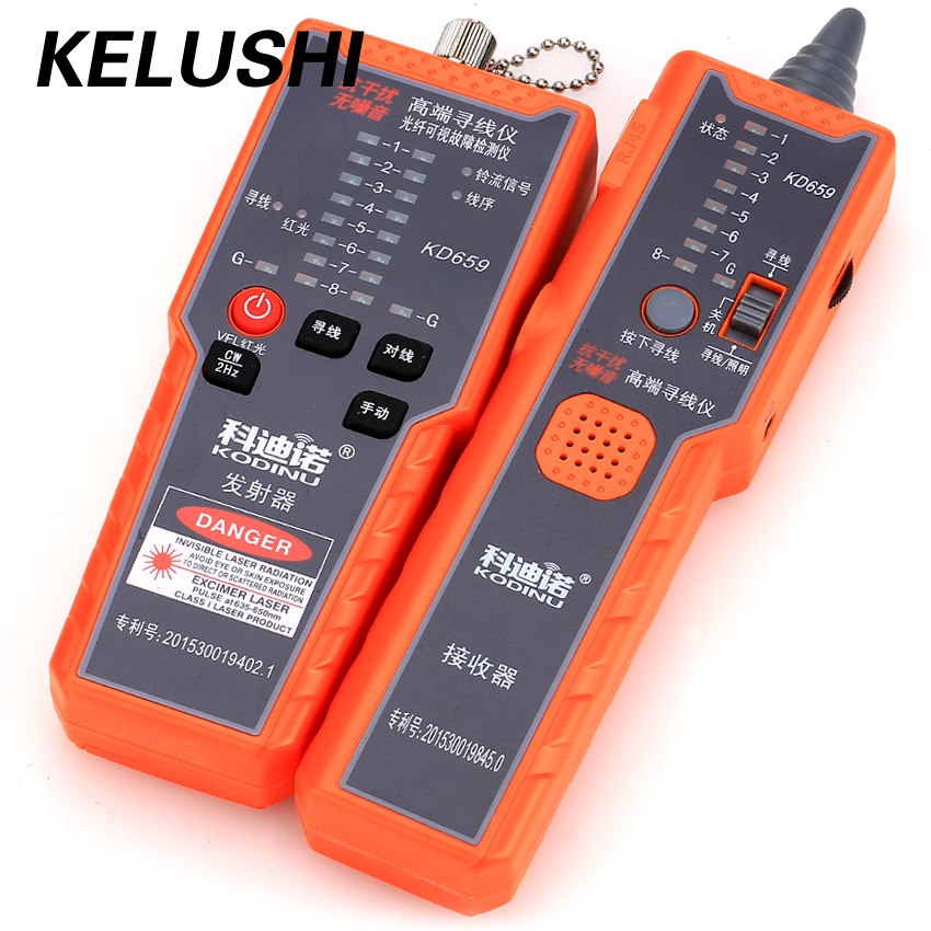 цена на KELUSHI KD 659 Anti-interference No Noise High-end Fiber Cable Tester Network Phone Cable Tracker Wire Toner Tracer with Bag