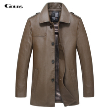 Gours Fall and Winter Genuine Leather Jackets for Men Brand Clothing Black Cowskin Long Jacket and Coat 2016 New Plus Size 4XL