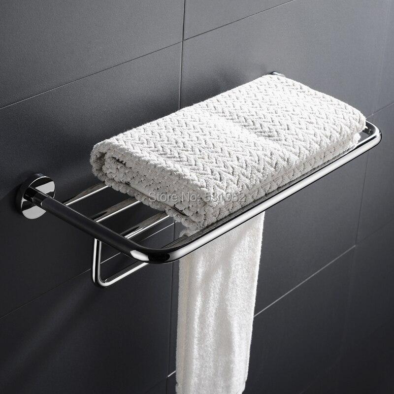 High Quality Stainless Steel Bath Towel Rack Shelf Polished Double Towel Bar Bathroom Towel Holder Fashion