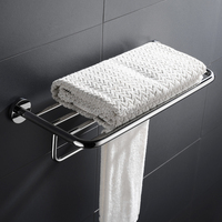 High Quality Stainless Steel Bath Towel Rack Shelf Polished Double Towel Bar Bathroom Towel Holder Fashion Design