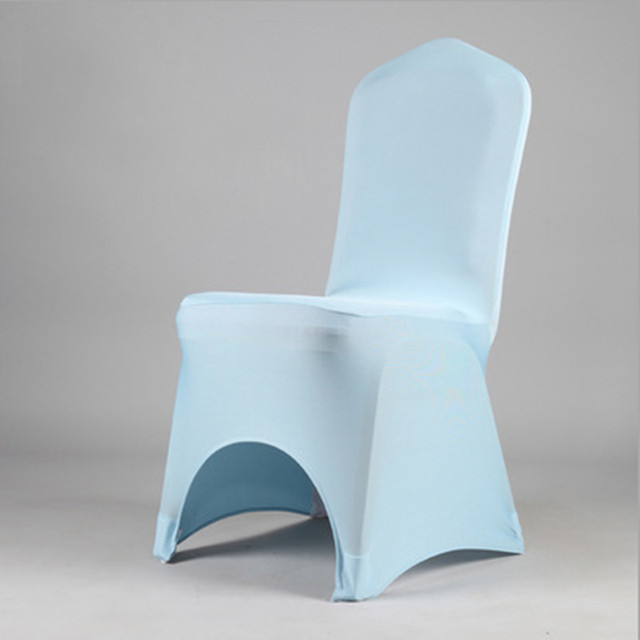 100pcs High Quality Thick Light Blue Banquet Lycra Spandex Chair Covers  Stretch Wedding Chair Covers For