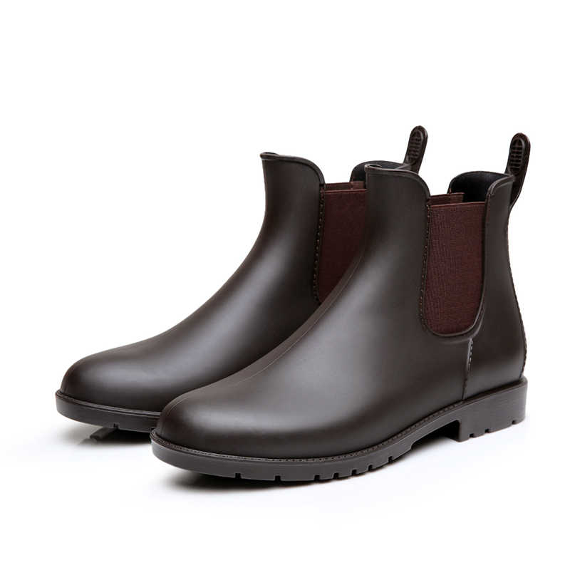 Erkek yağmur çizmeleri moda su geçirmez düşük yağmur çizmeleri Chelsea su ayakkabısı erkek rahat kısa erkek botları H-102