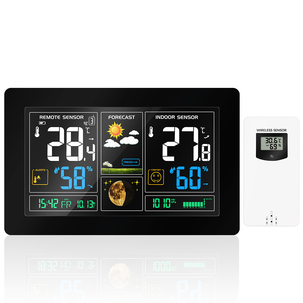 Colorful LCD Wireless Weather Station With Temperature Humidity Sensor Display Weather Forecast RCC Snooze Alarm Clock3
