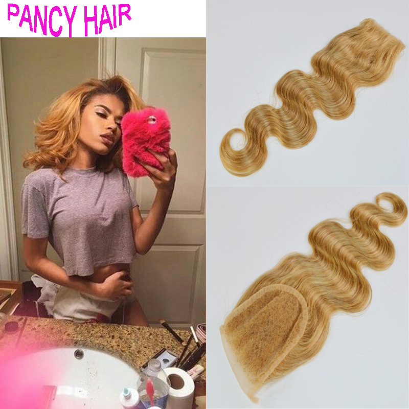 #27 Honey Blonde Top Lace Closure body wave Free Part 7A Brazilian Hair bleached knots Dark Brown 4*4 Lace Closures free ship