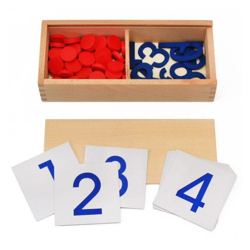 Montessori Conteggio Di Numero Chip Matematica Educational Toy 1-10 Carte