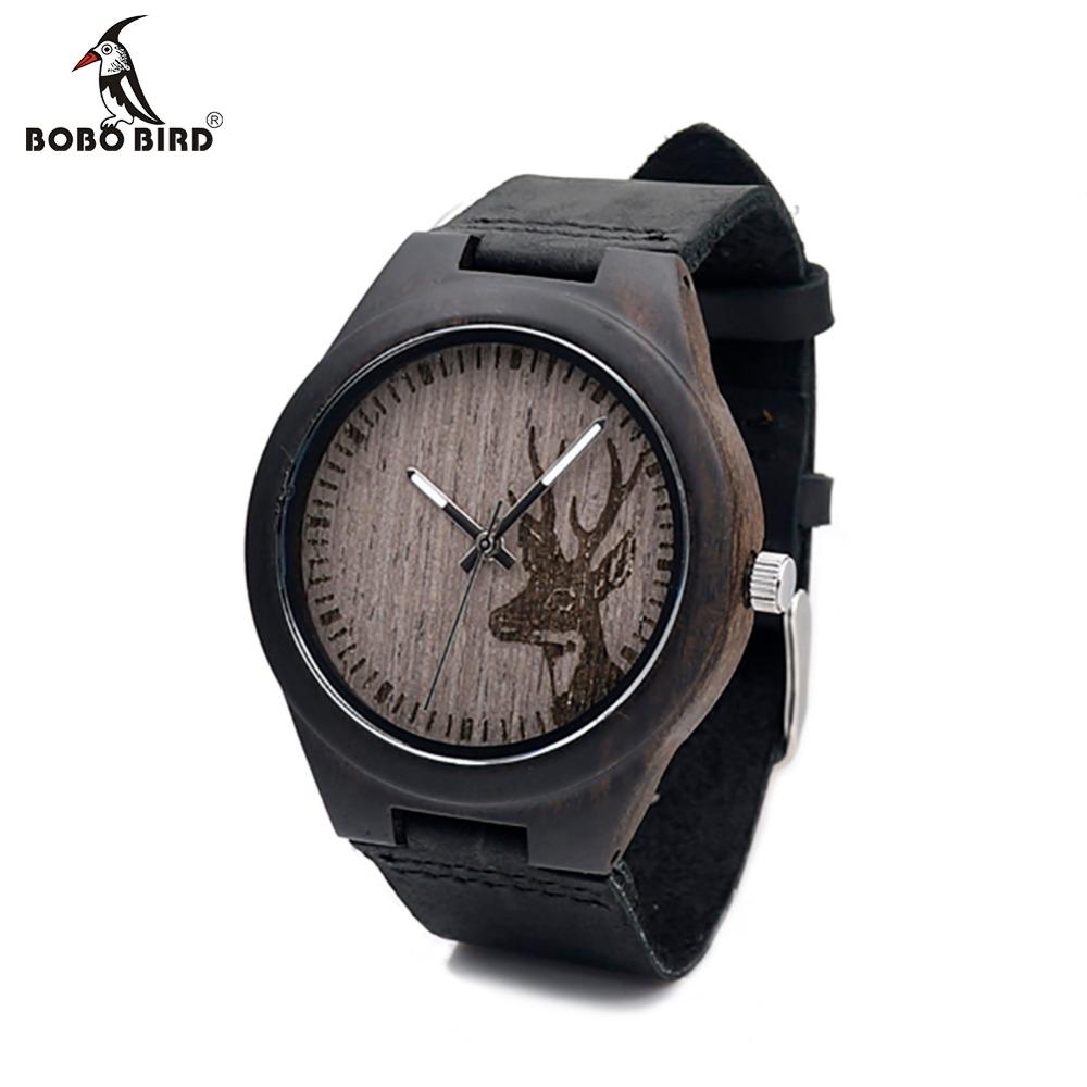 Prix pour Bobo bird g03 japon mouvement quartz montres en bois creative cadeaux antique montre avec véritable peau de vache en cuir band montres