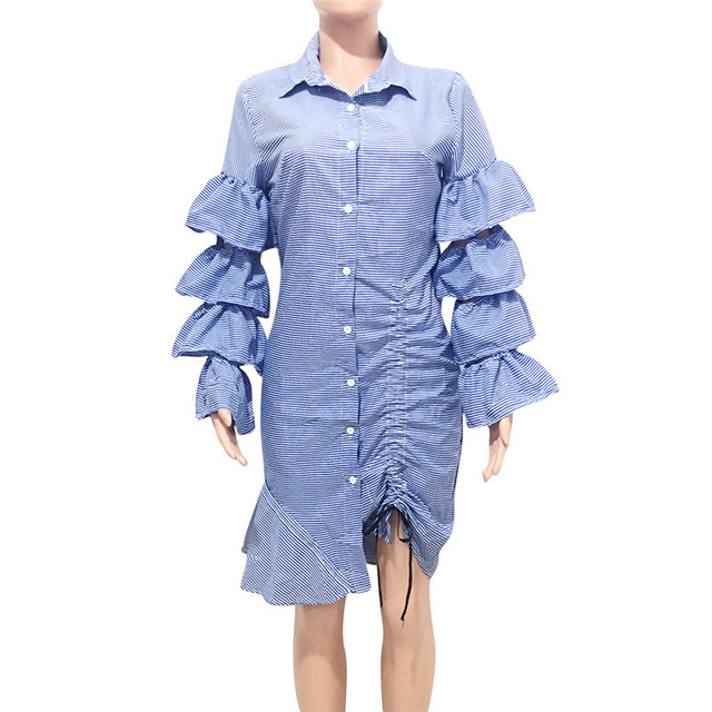 Blue Striped Irregular Shirt Dress Women Layered Ruffles Sleeve Button Up Knee-length Midi Dress Drawstring Party Casual Dresses