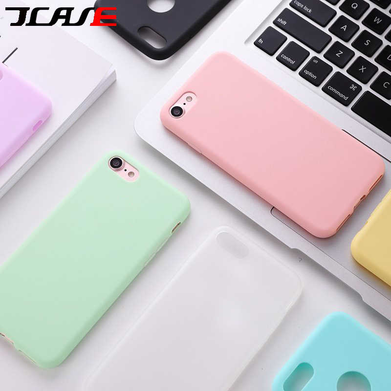 Permen Warna Matte Phone Case untuk iPhone 6 S PLUS 6 7 8 5 5 S SE untuk iPhone X MAX X XR Solid Sederhana Lembut TPU Case Back Cover