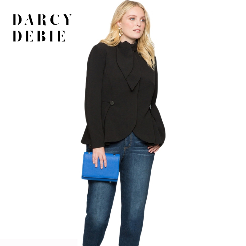 Darcydebie Plus Size Office Lady Solid Women Blazers Notched Tie Button Slim Big Size Female Clothing Large Size Outwears