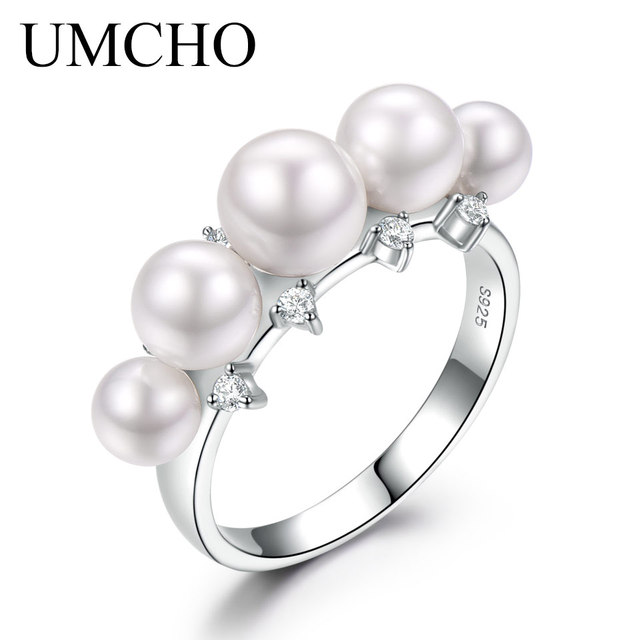 UMCHO 925 Sterling Silver Natural Freshwater Pearl Ring for Women Engagement Wed