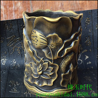 Exquisite folk container sculpture pure brass sculpture lotus leaf lotus family decoration pen container