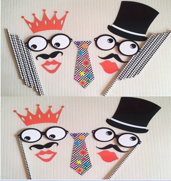Funny Wedding Decoration Paper Crafts Diy Mask Photo Booth Props With Straws Birthday Party For In Masks From Home Garden On