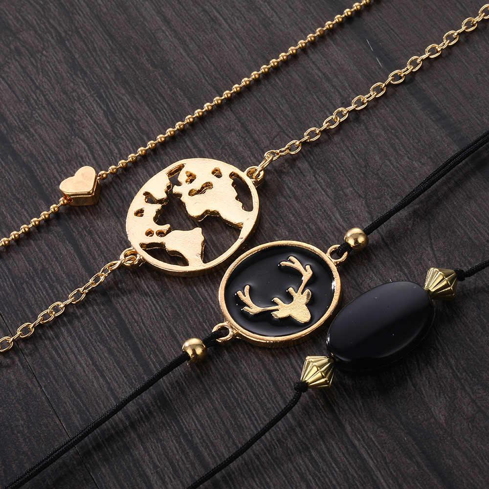Czeski Vintage bransoletka mapa głowa jelenia serce zestaw 2019 moda komunikat kobieta czarna lina żywica bransoletka biżuteria Party prezent