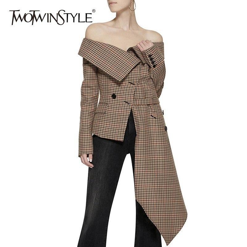 TWOTWINSTYLE Off Schulter Plaid Blazer Weibliche Jacke Slash Neck Langarm Unregelmäßigen Saum Plus Größe frauen Mäntel Herbst Mode