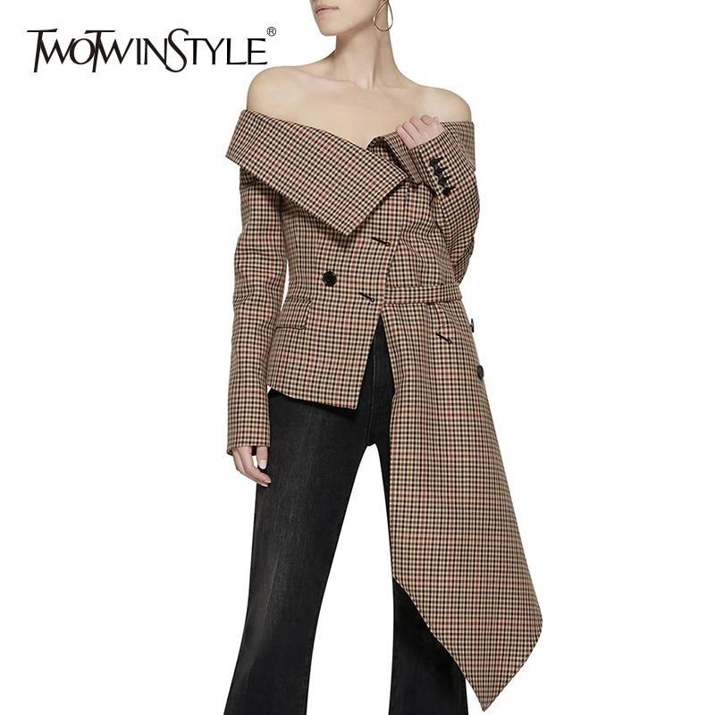 Twotwinstyle 오프 숄더 격자 무늬 블레이저 여성 자켓 슬래시 넥 긴 소매 불규칙한 헴 플러스 사이즈 여성 코트 가을 패션-에서블레이저부터 여성 의류 의  그룹 1