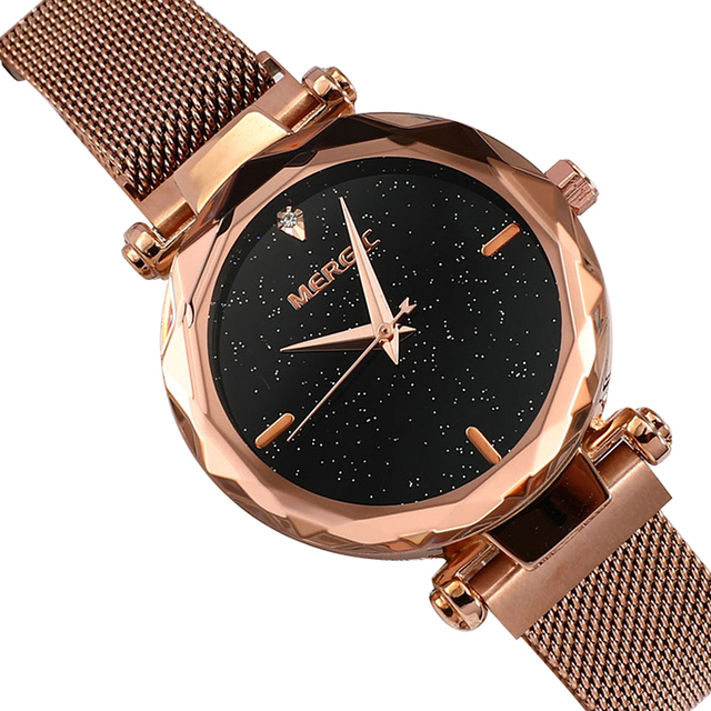 Fashion Luxury Starry Sky Crystal Purple Magnet Watch Women Quartz Rose Gold Blue Black Mesh Stainless Steel Elegant Ladies 2019