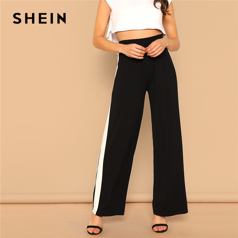 SHEIN Black High Waist Contrast Panel   Wide     Leg     Pants   Women Preppy Leisure Solid Long Trousers 2019 Spring Casual Workwear   Pants