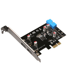 DIEWU SuperSpeed 2-Port USB 3.0 19-pin USB3.0 PCI-E PCI Express pcie riser Card Motherboard 20P 20 pin Connector  Chipest VL805