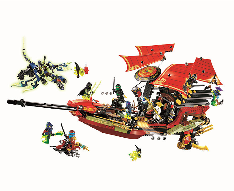 Gifts 1265pcs Phantom Final Flight Of Destiny's Bounty Ninjagoe Thunder Swordsman Building Blocks Bricks Toys Compatible Legoe pogo compatible legoe bela 10722 ninjagoe movie thunder swordsman building blocks bricks toys