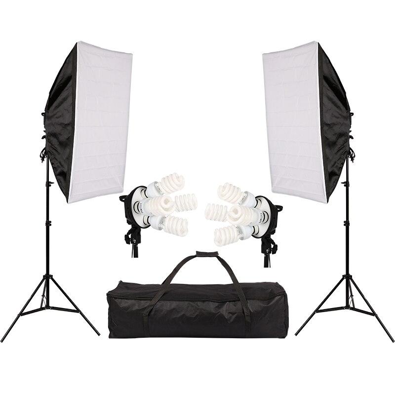Photo Studio Lighting Kit with 2 Softbox 2 4in1 Bulb Socket 8 45W Bulb 2 Light