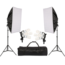 Photo Studio Lighting Kit with 2 * Softbox / 2 * 4in1 Bulb Socket / 8 * 45W Bulb / 2 * Light Stand / 1 * Carrying Bag portable 72w 1200 led continuous photographic light studio lighting kit with stand and carrying bag