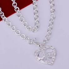 Promotion wholesale 925 silver necklace 925 silver fashion jewelry Peach Heart Necklace N175