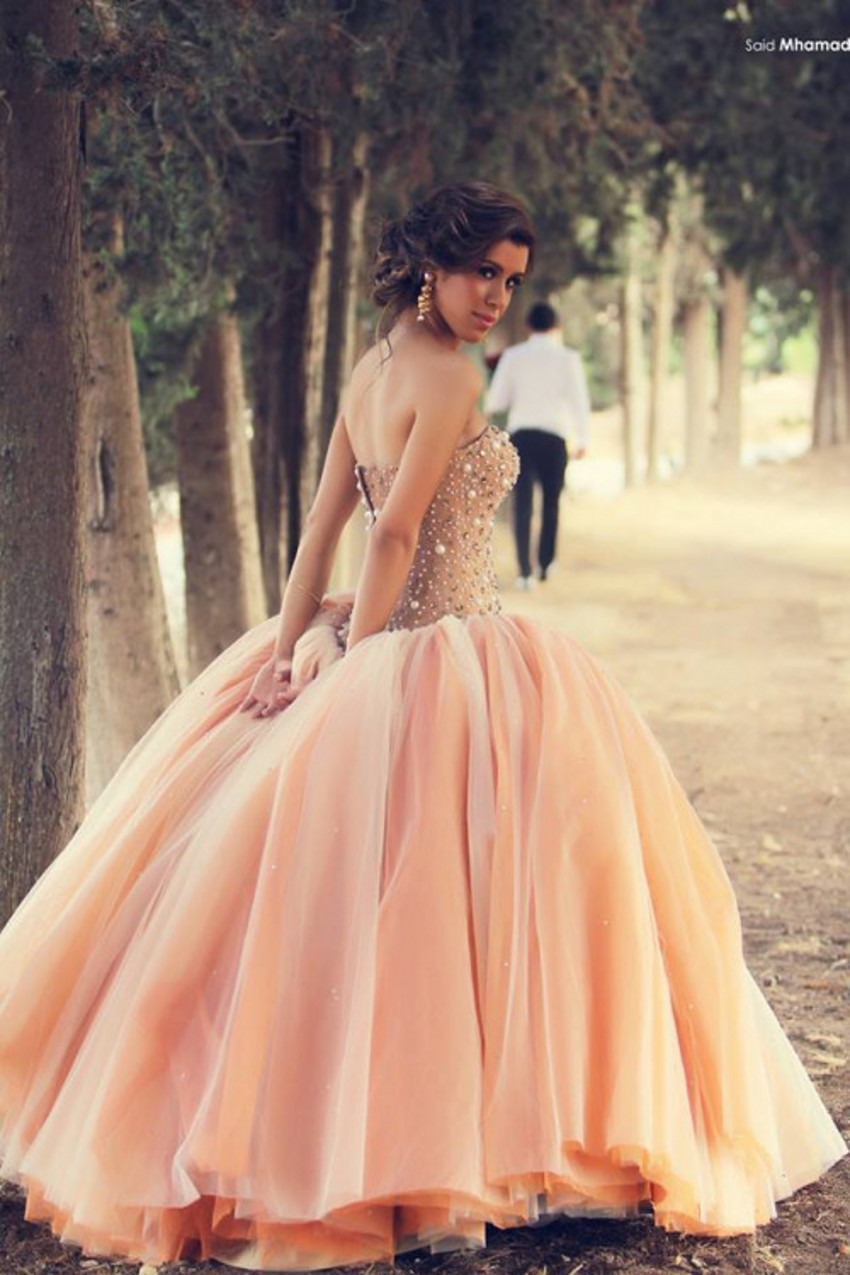 Robe de mariage 2015 arabic strapless ball gown pink wedding dresses pearls crystals tulle bridal gown