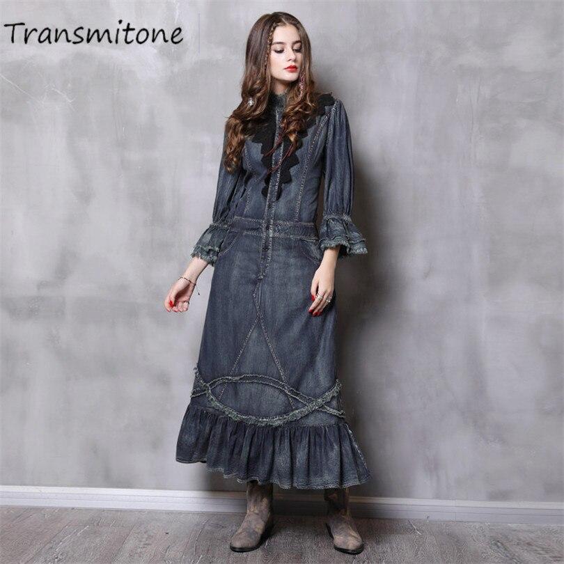 Femme Denim robe avec poches 2019 Vintage printemps femmes robes col montant Long élégant dentelle Patchwork robes Femininos