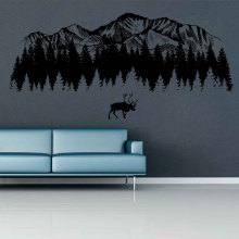 Woodland Wall Decals Mountain Moose wall art Nursery Decor Baby room for Bedrooms 3121