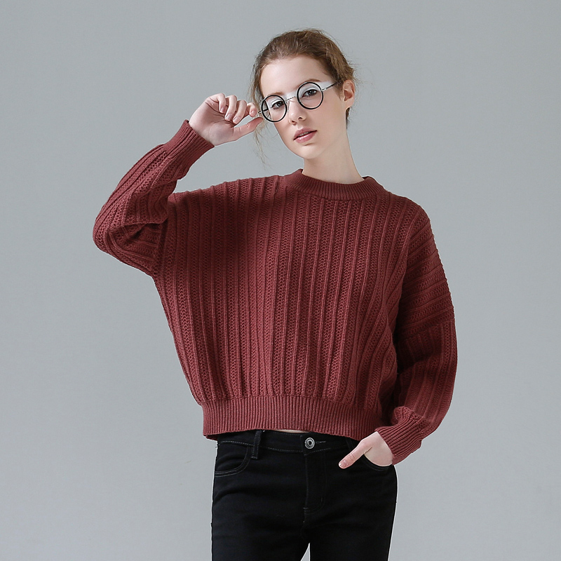 Toyouth Crop Sweater Female Loose Solid Long Sleeve Women Sweaters And Pullovers Korean Style Knitted Jumpers Sweaters