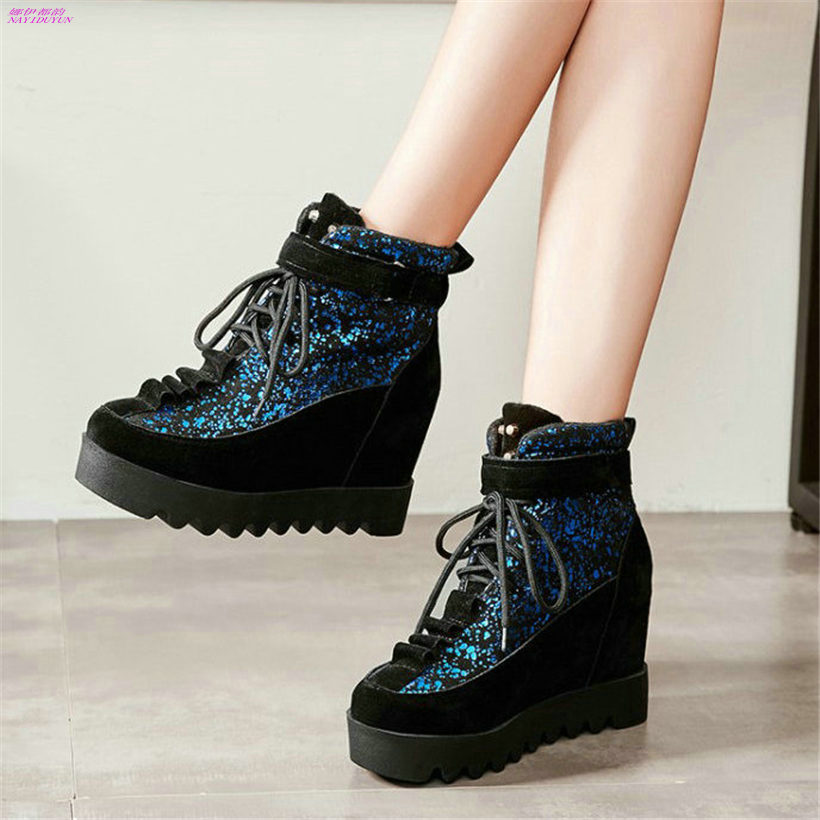 NAYIDUYUN Womens Lace Up Faux Suede High Heels Spike Studded Pumps Wedge Platform Ankle Boots Casual Party Sneakers Punk Shoes