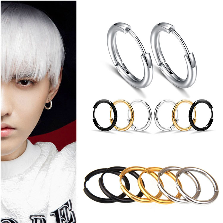 i-Remiel Korean Titanium Steel Ear Rings Anti Allergy Men's Earring Round Line Geometric Earrings Christmas Gifts