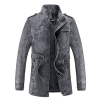 Denyblood Jeans 2017 Autum Winter Mens Coats Plus Size 3XL Slim Vintage Washed Thick Warm Jackets