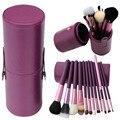 2016 12pcs/set Pro Cosmetic Makeup Brush Set Make up Tool + Leather Cup Holder Kits Purple #002
