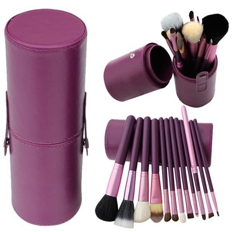 2017 12pcs/set Pro Cosmetic Makeup Brush Set Make up Tool + Leather Cup Holder Kits Purple #002 bork water а704