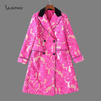 2018 Autumn / Winter Dobby Purple Red Long Women Coat High Quality Floral Printed Vintage Runway Design Woman Trench