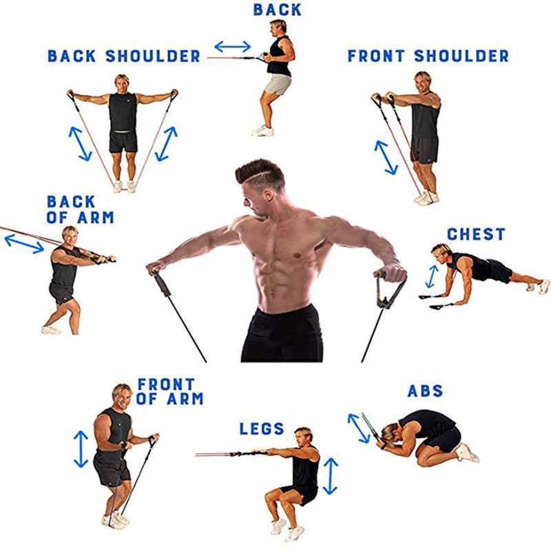 Zespoły oporu 11 sztuk rury komplet taśm oporowych ciągnąć liny Opaski elastyczne Fitness trening ciała ćwiczenia w domu joga siłownia sprzęt