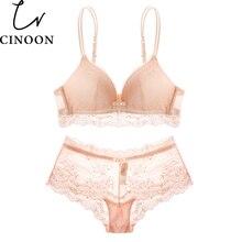 women intimates Lace underwear set Wave Hem Lace Bralette Push Up pink black Bra Set sexy lace women lingerie set