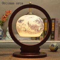 Новые китайские антикварные Творческий керамическая настольная лампа спальня ночники Американский пастырской цветочные картины твердой