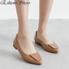 EshtonShero 2019 Womens Flats Shoes Woman Leather+PU Flat Heels Pointed Toe Buckle Apricot Ladies Wedding Clogs Size 3-12