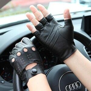 Image 3 - 2018 The Latest High Quality Semi Finger Genuine Leather Gloves MenS Thin Section Driving Fingerless Sheepskin Gloves M046P 5