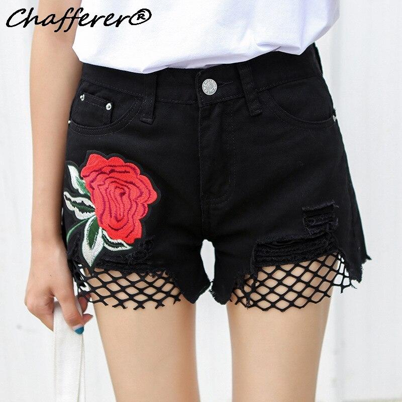 Chaffere Floral Embroidery Worn Grid Stitching Denim Shorts Lady Pants New Summer High Waist Mesh Tassel Hole Women Jeans Shorts denim zipper hollow worn stiletto womens sandals