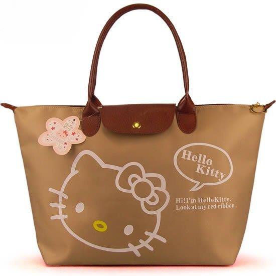 Free shipping 5 pcs/lot 2015 Hot Sale Hello Kitty Folding Handbags Women Casual Shoulder Bag Ladies Large Oxford Handbag