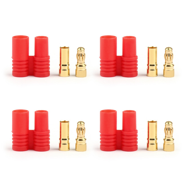 Areyourshop Male Female Battery Connector 10 Pairs 3.5mm Gold-plated Bullet Banana Plug RC Battery Plane ESC+ Shell Wholesale