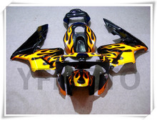Motorcycle Black+ Flame Fairing Kit For H O N D A CBR600RR CBR 600RR CBR600 RR 2003-2004 ABS Plastic +4 Gift