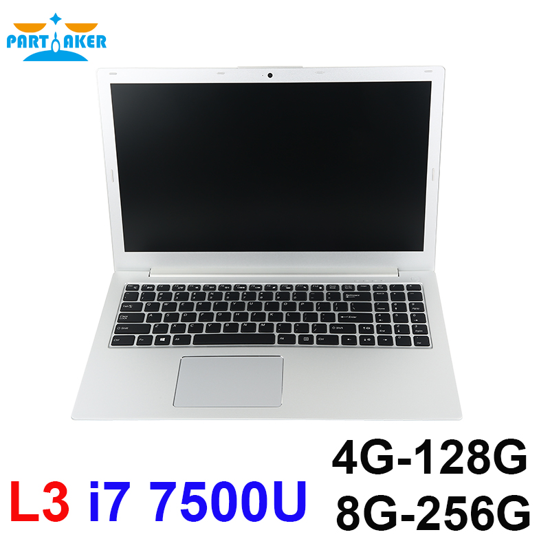 Partaker L3 15.6 inch Laptop Computer Windows10 Preinstalled with Intel Dual Core I7 7500U  Free Shipping Support DDR4 RAM fiscal end aluminum fanless embedded computer with i3 3217u 6com 4g ram onboard 2 intel lan support wake on lan dual 24bit lvds